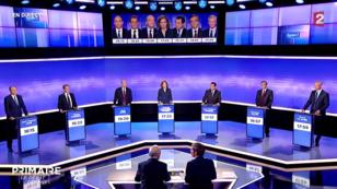 Les sept candidats à la primaire de la droite, jeudi 17 novembre 2016, lors du troisième et dernier débat.