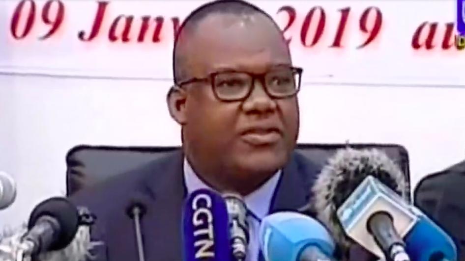 Le président de la Commission électorale nationale indépendante (Céni), Corneille Nangaa (au centre), le 9 janvier 2019 à Kinshasa.