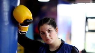 La boxeuse albanaise Elsidita Selaj, lors d'une séance d'entraînement, le 21 janvier 2021 à Shkodra