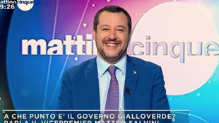 Le ministre italien de l'Intérieur, Matteo Salvini, invité de la chaîne Canale 5, le 22 janvier 2019.