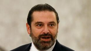 Le Premier ministre libanais Saad al-Hariri s'exprime après une rencontre avec le président Michel Aoun au palais présidentiel à Baabda, au Liban, le 7 novembre 2019.