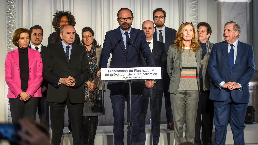 Philippe Huguen, AFP   French Prime Minister Édouard Philippe and some members of his government pose afting announcing new de-radicalisation measures on February 23, 2018, in Lille.