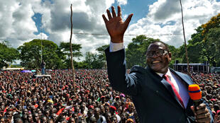 In this file photo, opposition Malawi Congress Party leader Lazarus Chakwera addresses supporters after the country's Constitutional Court annulled the May 2019 presidential vote that declared incumbent Peter Mutharika a winner, in Lilongwe, Malawi on February 4, 2020.