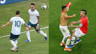 Lautaro Martínez festeja junto a Lionel Messi el primer tanto de Argentina (izquierda) y Alexis Sánchez celebra con Gary Medel tras marcar el último penal y darle el triunfo a Chile ante Colombia en la Copa América 2019, disputada en Brasil, el 28 de junio de 2019.