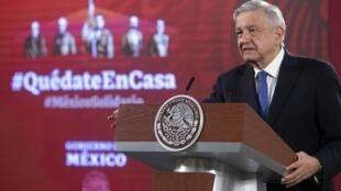 El presidente mexicano, Andrés Manuel López Obrador, el 7 de julio de 2020 en el Palacio Nacional en Ciudad de México