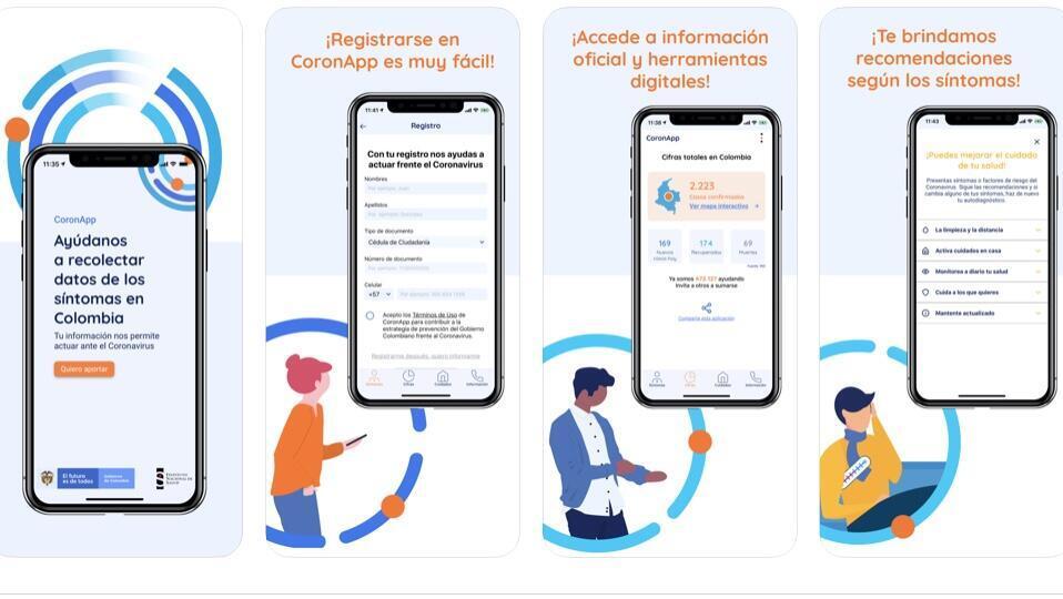 La interfaz de CoronApp, la aplicación diseñada por el Gobierno de Colombia en medio de la pandemia por la propagación del Covid-19.