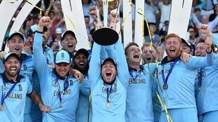 Captain Eoin Morgan lifts the World Cup as England celebrate winning the final a year ago at Lord's