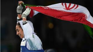 L'Iranienne Kimia Alizadeh a remporté la médaille de bronze aux JO de Rio en taekwondo moins de 57 kg, le 18 août 2016.