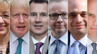 Andrea Leadsom, Boris Johnson, Jeremy Hunt, Michael Gove, Sajid Javid et Dominic Raab font office de favoris dans la primaire des Tories. (Montage AFP)