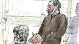 Un croquis de Djamel Beghal à la Cour d'appel de Paris, le 7 octobre 2014.