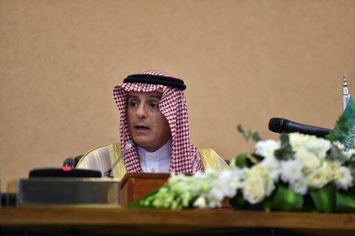 وزير الخارجية السعودي عادل الجبير متحدثا خلال مؤتمر صحافي في ختام القمة الخليجية في الرياض في التاسع من كانون الاول/ديسمبر 2018