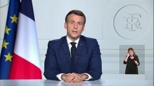 Emmanuel Macron giving a televised address to the nation to pay tribute to late former president Valéry Giscard d'Estaing from the Élysée Palace, Paris on December 3, 2020.