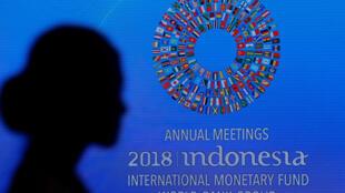 Un participante asiste a la Reunión Anual del Banco Mundial y del FMI 2018, en Nusa Dua, Bali, Indonesia, el 12 de octubre de 2018.