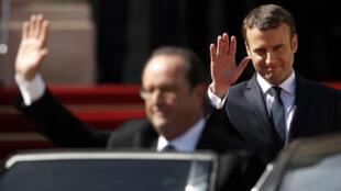الرئيس الفرنسي السابق فرانسوا هولاند يغادر الإليزيه والرئيس الجديد إيمانويل ماكرون يقوم بوداعه 14 أيار/مايو 2017
