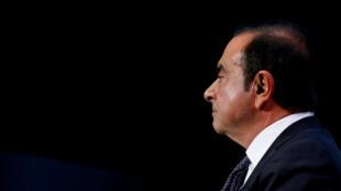 Carlos Ghosn, entonces presidente y director de la Alianza Mitsubishi-Renault-Nissan, en Auto Show de París el 1 de octubre de 2018.
