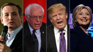 De g. à d.: le républicain Ted Cruz, le démocrate Bernie Sanders, le républicain Donald Trump et la démocrate Hillary Clinton.