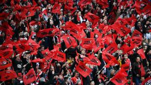 Les supporters du Stade Rennais jubilent après la victoire de leur club en finale de la Coupe de France.