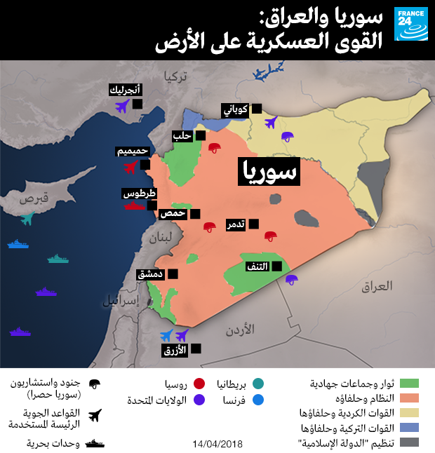 خريطة توضح القوى العسكرية في سوريا