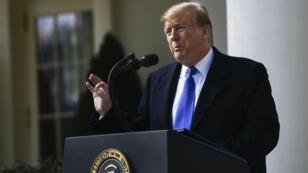 الرئيس الأمريكي دونالد ترامب في البيت الأبيض بواشنطن. 15 فبراير/شباط 2019.