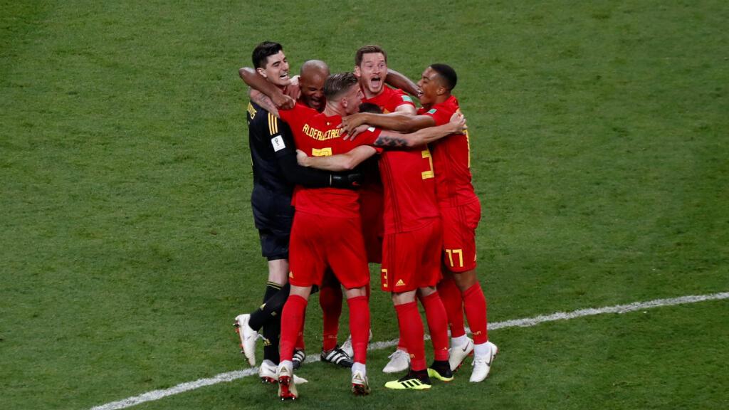 Los jugadores belgas celebran su clasificación a semifinales, después de eliminar a Brasil. 6/7/2018