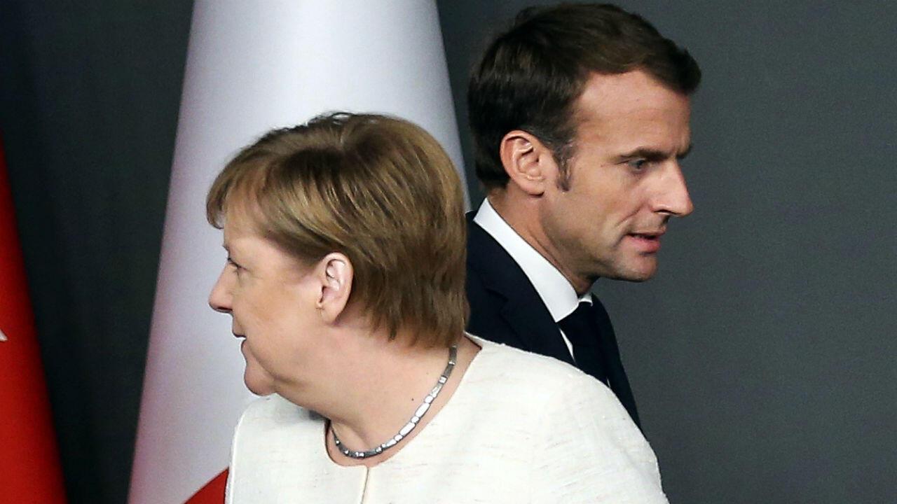 La chancelière allemande Angela Merkel et le président français Emmanuel Macron, lors d'une réunion duG5Sahel en2017.