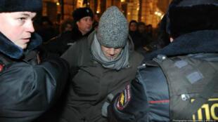 Alexei Navalny arrêté par la police russe à Moscou le 30 décembre 2014.