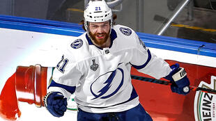 Tampa Bay forward Brayden Point celebrates after scoring a goal in the Lightning's 2-0 win over the Dallas Stars to claim their second Stanley Cup crown in franchise history
