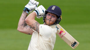 England's Ben Stokes hits out against the West Indies at Old Trafford