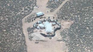 Vista aérea del complejo rural de Nuevo México donde once niños que vivían en condiciones inhumanas fueron rescatados, difundida el 6 de agosto de 2018.