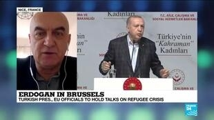 "2020-03-09 16:04 Erdogan in Brussels: ""The Turkish president is trying to kill two birds with one stone"""