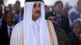 أمير قطر الشيخ تميم بن حمد آل ثاني خلال حضوره افتتاح ميناء حمد في الدوحة 5 ايلول/سبتمبر 2017