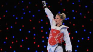 Marlène Harnois lors des championnats d'Europe 2012 de taekwondo