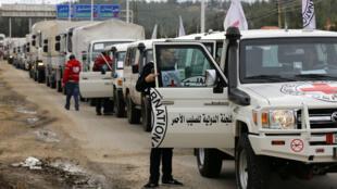 قافلة تنقل مساعدات إنسانية لمضايا في 14/01/2016