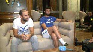 Los tenistas colombianos Juan Sebastián Cabal y Robert Farah en una entrevista en Londres. 6 de noviembre de 2018.