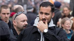 Alexandre Benalla, colaborador del presidente francés, durante la manifestación sindical del Primero de Mayo en París, Francia.