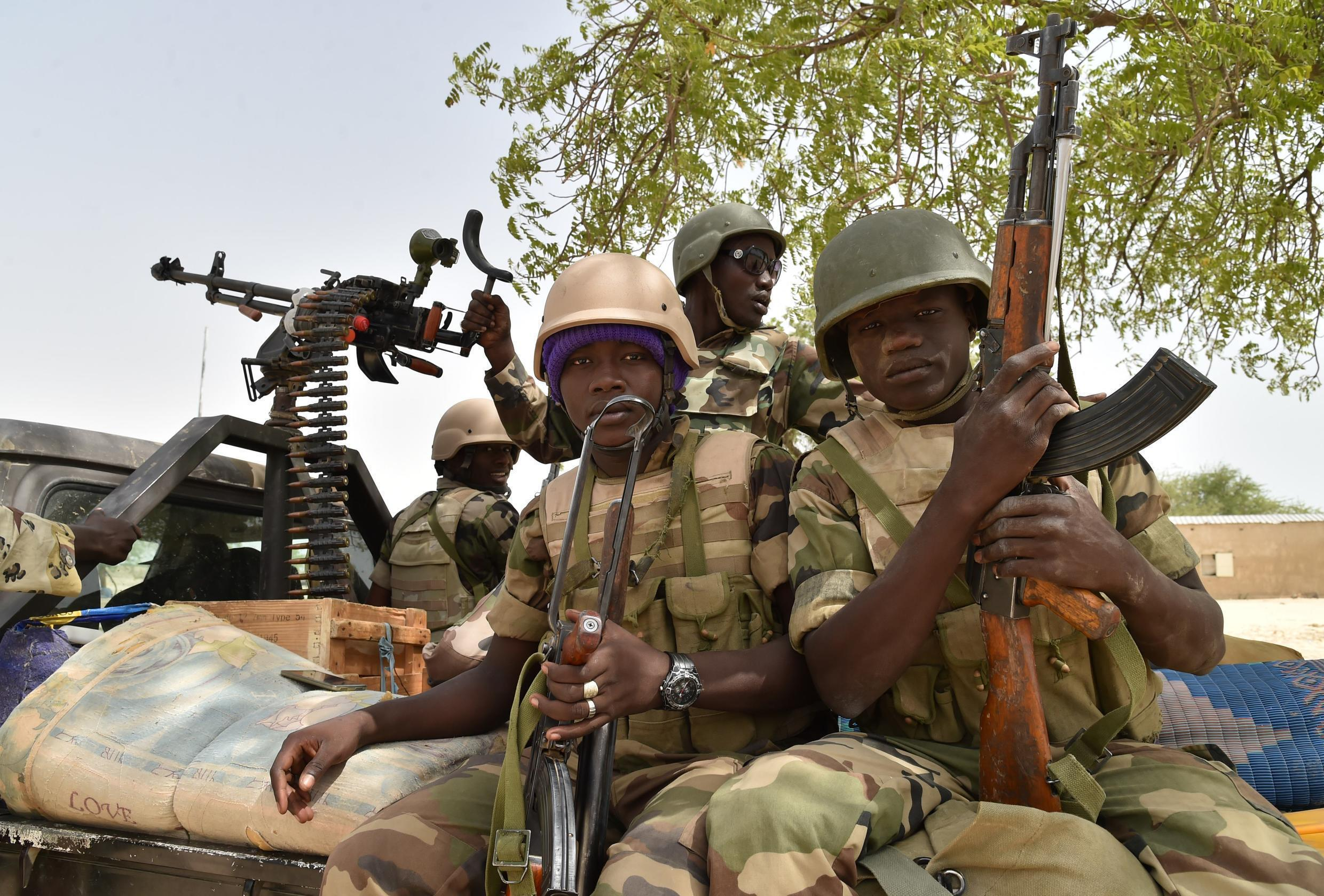 File photo: Nigerian soldiers in Bosso, following a Boko Haram attack on June 17 2016.