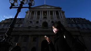 مبنى بنك انكلترا في لندن في 11 آذار/مارس 2020