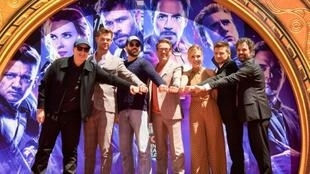 """The cast of """"Avengers"""" at the TCL Chinese Theater in Hollywood. Pictured from left: President of Marvel Studios/Producer Kevin Feige, Chris Hemsworth, Chris Evans, Robert Downey Jr, Scarlett Johansson, Jeremy Renner and Mark Ruffalo"""