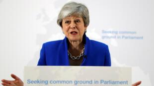 La primera ministra británica, Theresa May, pronuncia un discurso sobre Brexit en Londres, Reino Unido, el 21 de mayo de 2019.