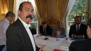 Le leader syndical de la CGT, Philippe Martinez, à Matignon? pour la rencontre entre les syndicats et Édouard Philippe, le 7 mai 2018.