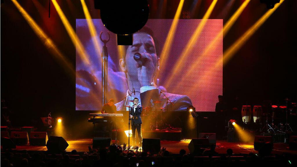 Un concert du musicien pop iranien Mohsen Yeghaneh, organisé à Téhéran, le 17 février 2016.