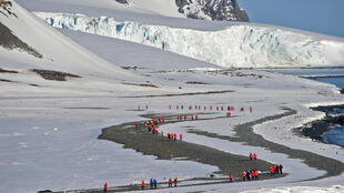 Tourists visit Yankee Bay in the South Shetlands, Antarctica in November 2019