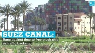 A view of the Ever Given cargo ship at the Suez Canal on Thursday, March 25, 2021.
