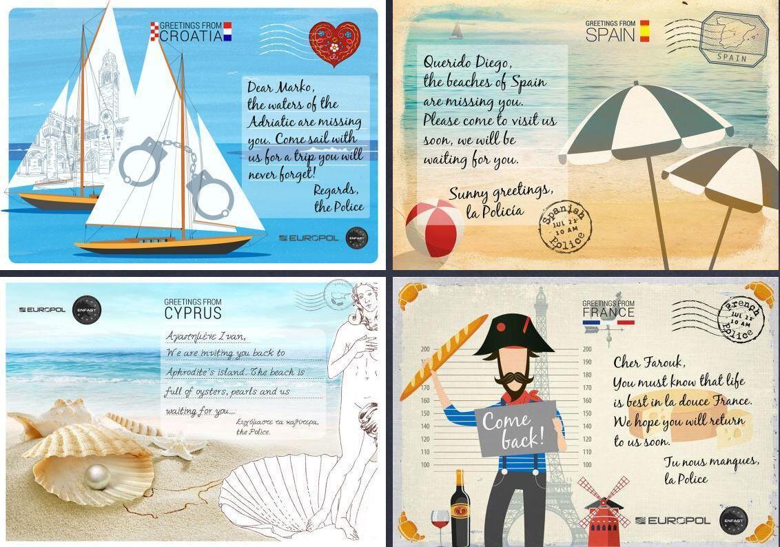 Europol a créé 21 cartes postales adressées aux criminels les plus recherchés du continent.