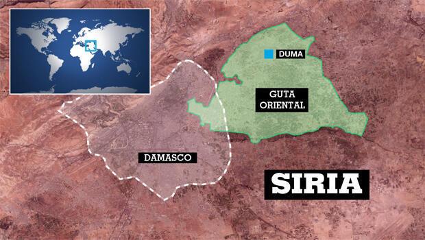 Mapa de Siria donde se observa su capital, Damasco y Duma en la provincia de Guta Oriental