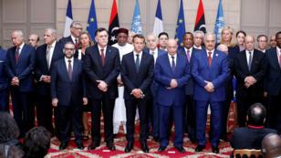 Los participantes de la Conferencia Internacional sobre Libia después de la reunión en el Palacio del Elíseo. Francia, 29 de mayo de 2018.