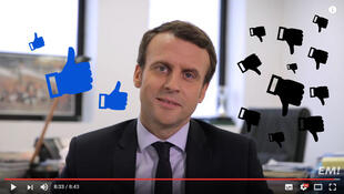 Capture d'écran d'une vidéo YouTube d'Emmanuel Macron arrangée par nos soins