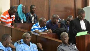 Le général Brunot Dogbo Blé (2e à droite), ancien chef de la Garde républicaine ivoirienne, a été condamné à 18ans de prison, jeudi 13avril.
