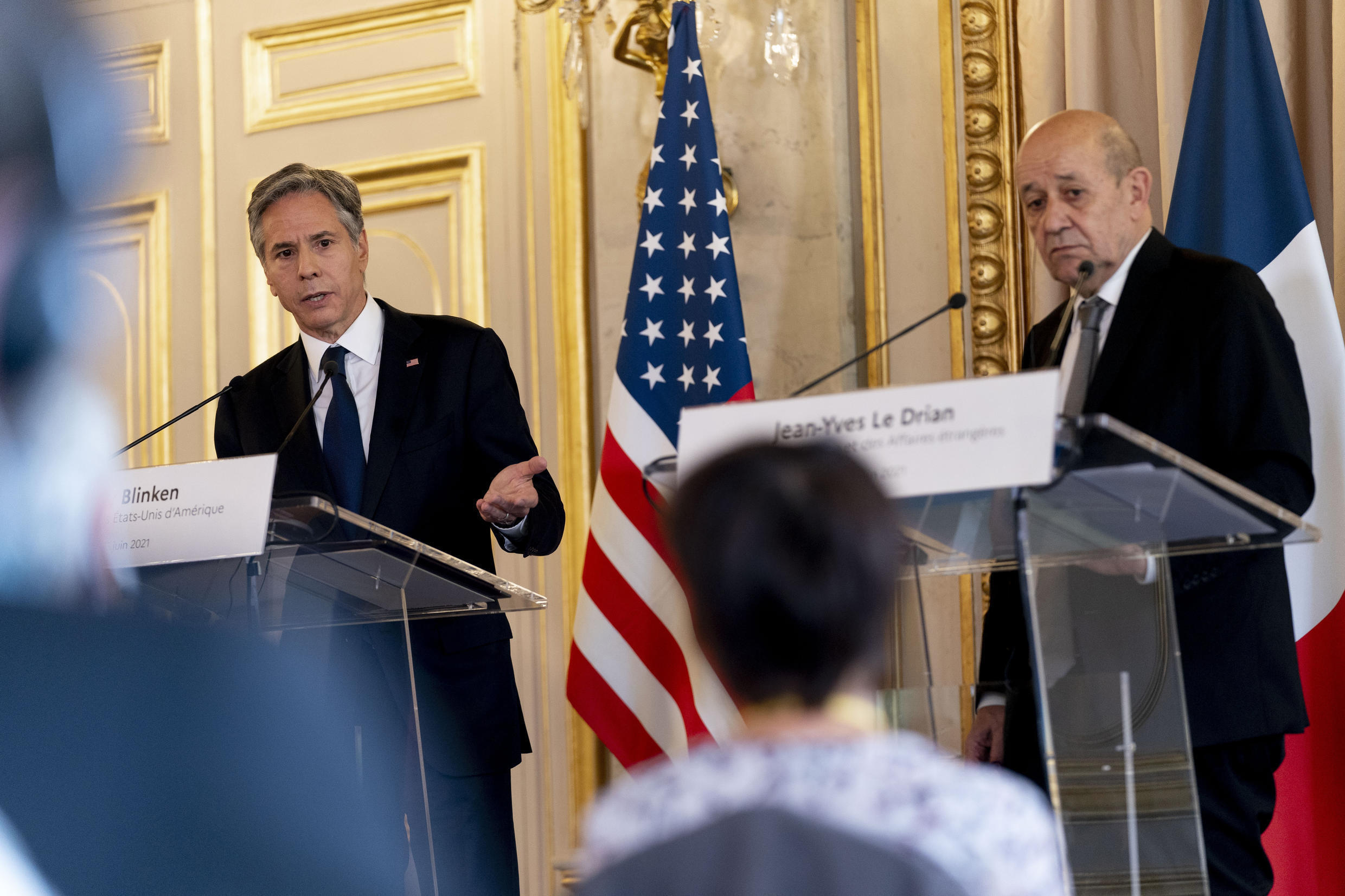 Both US Secretary of State Antony Blinken (L) and France's Foreign Minister Jean-Yves Le Drian urged Iran to return to the nuclear accord