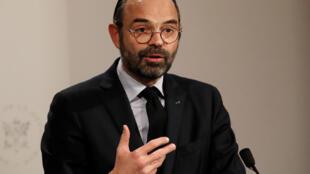 El primer ministro francés, Edouard Philippe, durante una conferencia de prensa en París, Francia el 9 de enero del 2019.